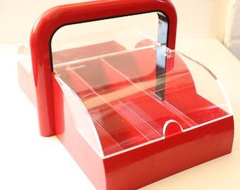 Guzzini Papillon Red Plastic Cutlery Tray