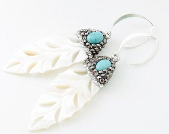Natural Leaf Shell Earring - Turquiose Stone and Crystal Pave