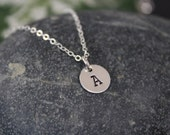 "Small initial necklace - sterling silver - 9.5mm (3/8"") round disc - handstamped initial necklace"