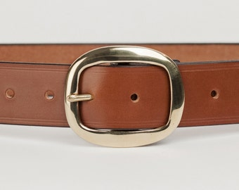 Mid Brown Bridle Leather Belt with 1.5 inch Oval Buckle