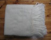 Vintage 1960's Cream Knit Scarf Pure English Wool Fringe Scarf Tube Knit