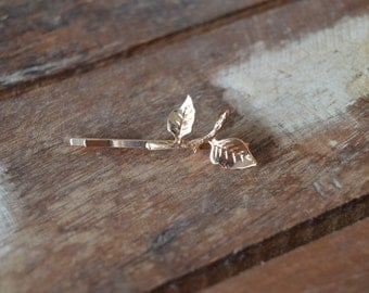 Golden leaves bobby pin. Pair of two