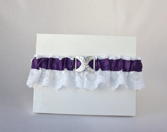 White and purple wedding garter/Bridal garter/Wedding Garter/Lace garter/Rhinestone bow garter/Vintage garter/Prom garter/