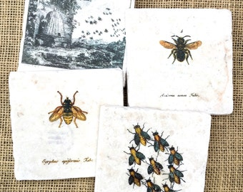 Bee  Coasters, Bee Decor, Bee Gift, Garden Decor, Gardener Gift,