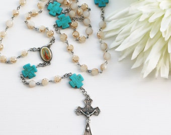 Contemporary Handmade Rosary--Hand Beaded Modern Rosary--Glass Beads--Spiritual--Catholic--One of a Kind--Boho--Prayer--Hippie--Turquoise