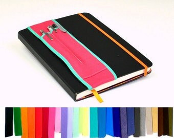 A5 Pick Colors -- 2-pocket Notebook Pencil Holder Bandolier