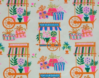 Vintage Ben Mont Mid-Century SHOWER Gift Wrap - Wrapping Paper - FLOWER Carts and PRESENTS - 1960s