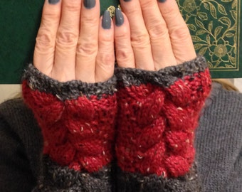 Cable Knit Fingerless Mitts, Chunky Knit Cabled Fingerless Mitts, Alpaca and Merino Wool Mitts, Tweed Mitts, Red and Grey Fingerless Gloves