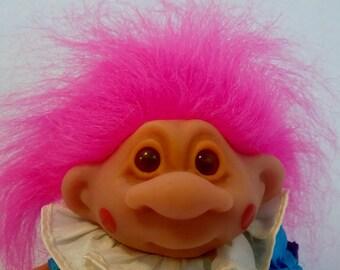 Vintage TROLL DOLL * Thomas DAM Clown Troll Doll with Neon Hot Pink Hair * Circus Doll