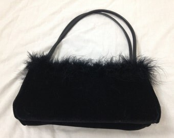 black fuzzy furry purse