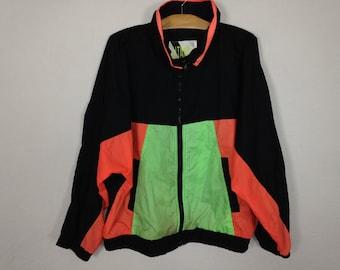 90s neon windbreaker jacket size L