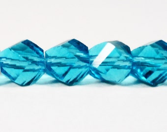 """6mm Helix Crystal Beads, Aqua Blue Crystal Beads, Twisted Crystal Beads, Faceted Chinese Crystal Glass Beads on a 7"""" Strand with 33 Beads"""