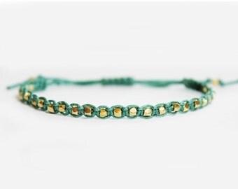 10% OFF SALE Gold Nugget Beaded Bracelet - Adjustable - Beaded Friendship Bracelet