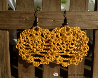 Boho crochet earrings in Mustard Yellow