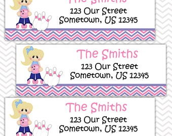 Bowling Girl - Personalized Address labels, Stickers
