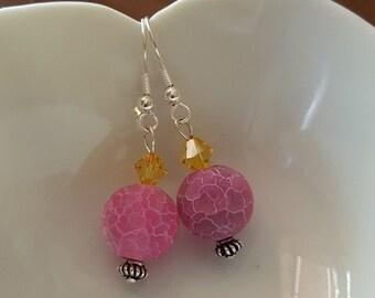 Hot Pink Crackle earrings