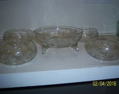 1980's Set of 6 Glass Dessert and  Candy Fruit Bread Bowls  NOT CRYSTAL 6 1/4""