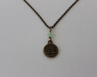 Beaded Tree Necklace Antique Brass