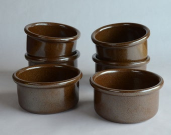 Eslau Pottery Bowls Set of Six Maren Pattern Designed by Tue Poulsen 1970's Made in Denmark