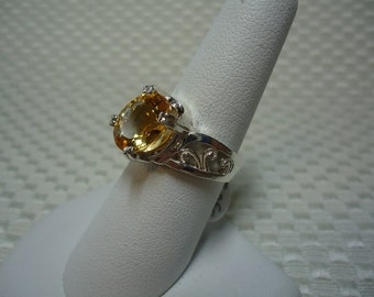 Oval Cut Citrine Ring in Sterling Silver  1697