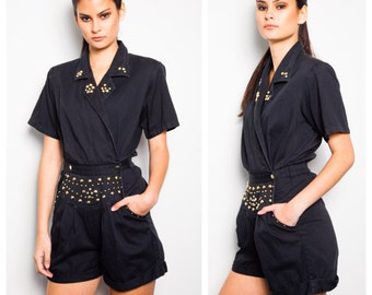 sassy VINTAGE 80's tailored utility cotton pleat front military playsuit romper with gold & crystal studding