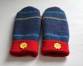 Winter Wool Mittens - Wool Felted Mittens - Sweater Mittens - Fleece Lined Mittens - Womens Size Medium -Blue