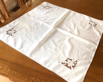 Vintage Madeira Linen Tablecloth, Cutwork Embroidered Tablecloth, Excellent Condition, 1950s