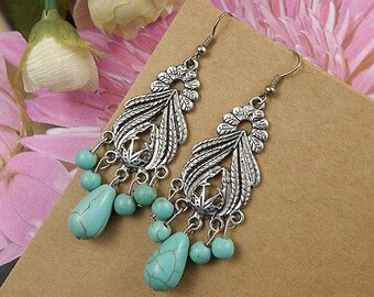 Ethnic Tribal Hmong Miao Silver Flower Filigree Turquoise  Drop Dangle Earrings