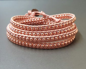 Pink Rose Gold Leather Wrap  Bracelet/Anklet