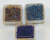 3X Wangs Seed Beads & Cut Bugle Beads -Royal Blue, Turquoise, Black Opal-8/0 -Total 21 grams-NIP-Jewelry Supply, Costume Accent, Hair Design