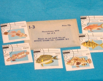 Vintage Mozambique Tropical Fish Postage Stamp Set, 1979-Set of 6-Cancelled, Non-hinged-Perfect for Scrapbooks, Card Making-Great Condition