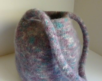 Hand knitted, felted bucket bag