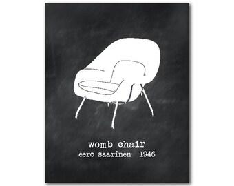 Room Decor - Wall Art - Womb Chair - Chair Silhouette - Mid century Modern Eero Saarinen - retro chair print - vintage look chalkboard