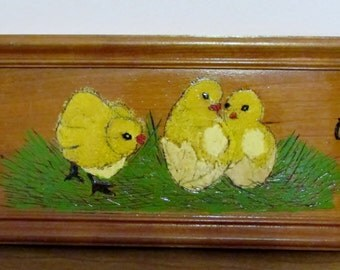 Picture, Folk Art, Chicken Art, Easter Baby Chicks, Yellow, Country Primitive Hand Painted Folk Art Wood Panel ~BreezyJunction.etsy.com