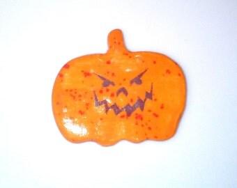 Scary Face Jack O Lantern Ceramic Magnet, Halloween Decor.  Teal Halloween