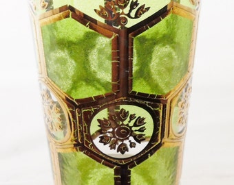Vintage, Mid Century Modern, Culver style, Bar Glass, 22K Gold and Green, Barware, Glass Glassware