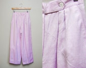 Vintage Lilac Linen Trousers / 80s Christian Dior Pants / High Waist Pleated Slacks