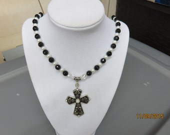 Cross Pendant Necklace and Dangle Earring Set