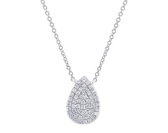 14k White Gold .15ct Diamond Tear Necklace