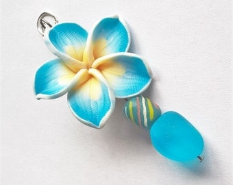 Flower Pendant: Blue Polymer Clay Flower Bead, Blue Striped African Beads, Aqua Blue Recycled Glass Beads