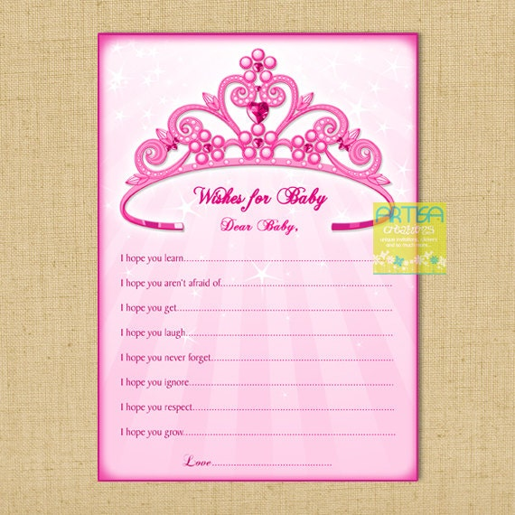 wishes for baby card pink princess baby shower wishes for baby