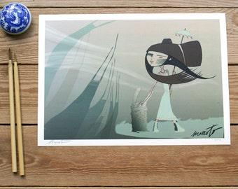 ART PRINTS//wind girl// illustration