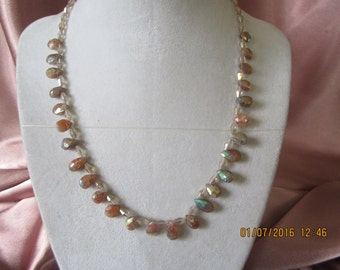 N435 - Rare Australian Sunstone Briollettes with Crystal Beads