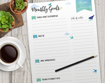 MONTHLY Goals Planner Printable, Printable Monthly planner, INSTANT DOWNLOAD