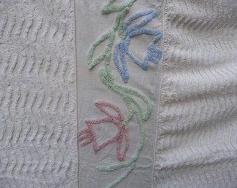 Chenille cutter bedspread with tulips