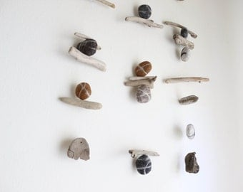 Driftwood Hanging with Felt Rocks / Pebbles  / Stones-- Rustic Natural Mobile -- Interior Design Mobiles -- Ready to ship