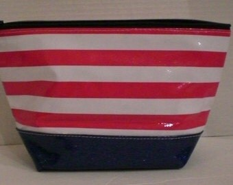 Large cosmetic two tone red stripe with blue sparkle vinyl bottom monogrammed oilcloth