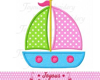 Instant Download Sailboat Applique Machine Embroidery Design NO:2012
