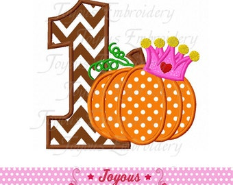 Instant Download Pumpkin Number 1 Applique Embroidery Design No:2213