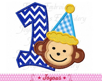 Instant Download Birthday Monkey Number 1 Applique Embroidery Design NO:1995